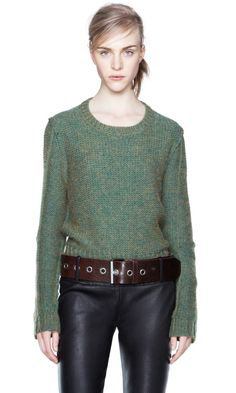 simple crew sweater & belted leather jeans...will so be my uniform for the fall