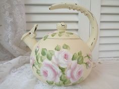 ROMANTIC TEA KETTLE DECOR hp roses chic shabby vintage cottage hand painted art