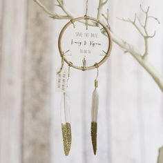 Wow your guests with this stunning personalised dream catcher to inform them of your wedding date!You can choose the message for the main part of the dream catcher and you can also add text onto the side tag.A lovely way to notify your guests of your wedding date in a way that they will treasure forever. This beautiful dream catcher reads 'Save the date', your names and wedding date and can also have a personalised message on the little side tag. The dream catcher is finished with white…
