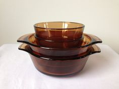 Anchor Hocking- Fire King - Amber - Individual Bowls, Custard Dishes - Set of Four on Etsy, $16.00