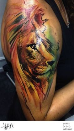 awesome Watercolor tattoo - Imgs For > Abstract Watercolor Lion Tattoo...