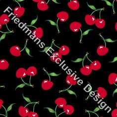 RUB110 Red Cherry on Black | Printed Lycra Fabric | Printed Fabric | Stretch Fabric | Funki Fabrics | Swimwear Fabric