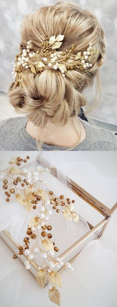 This beautiful handmade bridal hair piece made with gold crystals, gold tiny leaves and ivory glass pearls. Complement most wedding hairstyles. It is the perfect bridal headpiece for that woman who wants to simply sparkle on her wedding day. Finishing touch to your bridal up-do. Wedding Hair Inspiration. Wedding Ideas. #bridal #weddingaccessories #bridalhair #weddingcomb #bridalcombs #updo #weddings #bride #affiliatelink #handmade