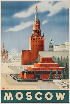 DP Vintage Posters - Moscow, Original USSR Intourist Travel Poster #moscowrussia