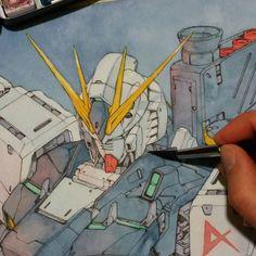Painting Nu Gundam (wip) by Trunnec on DeviantArt