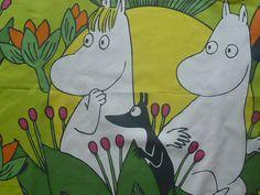 Moomin fabric Sun Moomin green yellow big charachters door tillukka, $14.00