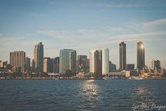 """3 canvas piece - San Diego skyline - 12x24"""" each piece by LysBleuDesigns on Etsy"""