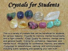 Crystals for students. These crystals include Fluorite, Clear Quartz, Citrine, Rhodonite, and Turquoise. Crystal Uses, Crystal Healing Stones, Crystal Magic, Crystal Grid, Healing Rocks, Crystals And Gemstones, Stones And Crystals, Gem Stones, Crystals For Kids
