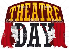 Theatre stage decorated with red curtains and comedy and tragedy. World Theatre Day, Theatre Stage, Tragedy Mask, Comedy And Tragedy, Red Curtains, Video Image, Free Vector Art, Feature Film, Photo Illustration