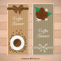 弓とコーヒーオブジェクトと木製のバナー 無料ベクター