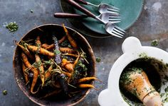 Roasted Carrots with Carrot-Top Pesto - Bon Appétit