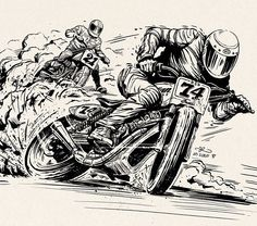 Inks for the @rolandsandsdesign Super Hooligan poster. Looking forward to seeing the Indian flat tracker in action. Riding style inspiration came from a shot by Mark Tokelove of the great @motelcoste on the gas. @norfolkboy66  #99seconds #rolandsands #flattrackracing #indianmotorcycle #wip @99seconds_studio #illustration #flattrack