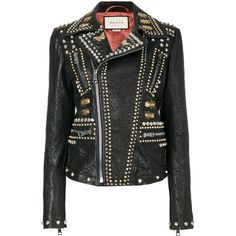 Gucci studded biker jacket (5.230.315 CLP) ❤ liked on Polyvore featuring outerwear, jackets, gucci, tops, unavailable, studded jackets, floral leather jacket, motorcycle jacket, leather jackets and biker jacket