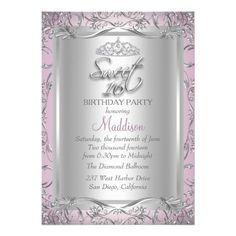 Pink Silver Damask & Tiara Sweet 16 Invitation