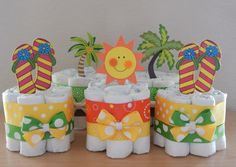 Tropical Beach Mini Diapers Baby Shower Centerpieces