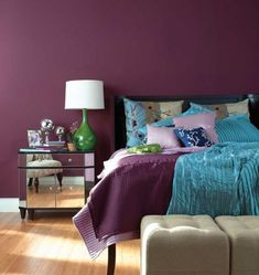 Bedroom , Elegant Purple Bedroom : Purple Bedroom With Purple Blue Bedding And Purple Walls And Mirrored Nighstand And Green Base White Shade Bedside Lamp And Ottoman Purple Bedroom Paint, Plum Bedroom, Purple Bedroom Design, Bedroom Turquoise, Purple Bedrooms, Purple Walls, Bedroom Colors, Girls Bedroom, Bedroom Ideas