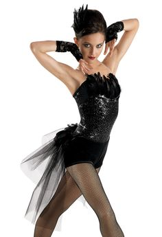 Black Feathered Sequin Leotard; Weissman Costumes the Leo was part of my ballet coustum last year with it we had a black tutu.