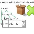 Box Method Multiplication - 24 Problems - 3 by 1  This box method multiplication worksheet contains 24 problems with an answer key (1 is an example...