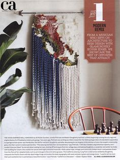 "All Roads ""California"" weaving. Featured in the winter 2013 issues of California Home and Design Magazine. The weaving is inspired by a topographical map of the state. The indigo dyed rope suggests the Pacific Ocean and the welded arrow points westward."