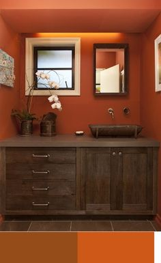 color schemes: brown, dark orange, white in the bathroom