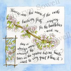 Apple blossoms - watercolor and calligraphy - © Sharyn Sowell