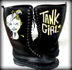 Tank Girl Lace Up Combat Boots - Riot Grrrl, DIY, Punk Rock Style - Custom Painted - One of a kind! on Etsy, $90.00