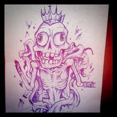 Freakout skeleton with a crown, obviously.