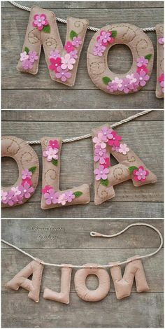 Felt name banner nursery decor personalized gift felt letters baby gift child room baby name garland custom felt name MADE TO ORDER Baby Name Banners, Baby Name Letters, Felt Name Banner, Felt Letters, Fabric Letters, Baby Crafts, Felt Crafts, Diy And Crafts, Diy Banner