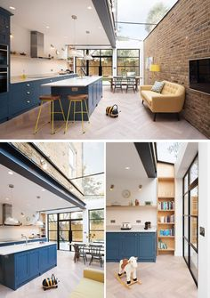A Light-Filled Rear Extension And A Playful Basement Were Added To This Home In London - - British firm Sketch Architects, have refurbished a terraced home in South West London by adding a spacious, bright rear extension. Open Plan Kitchen Dining Living, Open Plan Kitchen Diner, Living Room Kitchen, Sofa In Kitchen, Brick Wall Kitchen, Kitchen Decor, House Extension Design, House Design, House Extension Plans
