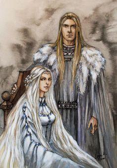 merenwen84, via norvegr-presence) Finarfin (Son of Finwe, husband of Earwen the swan maiden of Alqualonde, father of Finrod, Orodreth, aegnor, and Galadriel) & Eärwen (daughter of Olwe of the teleri. Of the swan people of Alqualonde by liga-marta