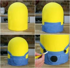 All Time Easy Cake : Minion cake with fondant - instructions for body and clothing, Lego 3d, Minion Cupcakes, Cake Minion, Diy Home Cleaning, Elegant Desserts, Minion Party, Fondant Cakes, Diy Party, Food And Drink