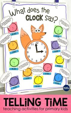 These first and second grade telling time activities are ideal for high engagement practice of reading and writing time to the hour, half  hour, quarter hour, and nearest 5 minutes. The anchor chart doubles as a game board for the lessons. The math/writing craft can be used as a practice clock. The student booklets and partner games make perfect 1st and 2nd grade math centers. Also includes lots of fun teaching ideas that your kids will love! #mathlessons #mathpracticegames