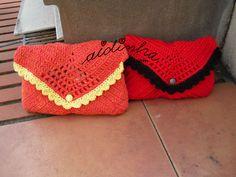 Bolsas em crochet, tipo envelope, laranja e vermelho