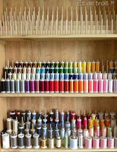 DIY Wooden Dowel Organizer for thread in the sewing room - If you're in need of craft storage ideas for your craft room then this list is exactly what you need to read! great ideas for the sewing studio! Craft Room Storage, Sewing Room Storage, Sewing Room Organization, My Sewing Room, Sewing Rooms, Storage Ideas, Storage Solutions, Creative Storage, Studio Organization