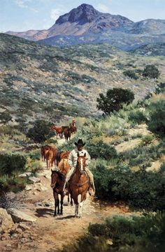 """Moving Camp at Windmill; """"This is a very good Arizona cowboy by the name of Ben Fancher. He is moving camp and the remuda on Windmill Ranch. In the rough Arizona country, camp is always moved by horses, rather than by wagons,"""" says Bill Owen."""