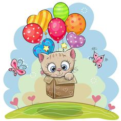 Cute Teddy Bear in the box is flying on balloons. Cute Cartoon Teddy Bear in the box is flying on balloons vector illustration Kitten Cartoon, Cute Cartoon, Cartoon Drawings, Cute Drawings, Cartoon Mignon, Cute Teddy Bears, Tatty Teddy, Marianne Design, Cute Pictures