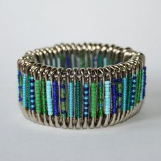 Iris  Safety Pin Bracelet by MysticLily on Etsy, $20.00