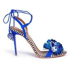 Aquazzura 'Tropicana' orb and tassel embellished suede sandals ($1,030) ❤ liked on Polyvore featuring shoes, sandals, blue, suede shoes, color block shoes, striped shoes, aquazzura shoes and blue suede sandals