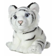 Realistic Stuffed White Tiger Cub 10 Inch Plush Animal by Aurora at... ($14) ❤ liked on Polyvore featuring stuffed animals, toys, kids stuff and stuffed toys