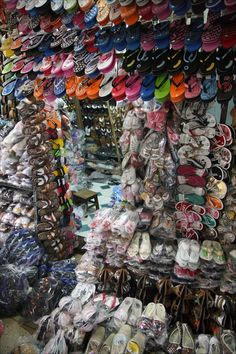 Ho Chi Minh City, Vietnam - Shoes for sale in the Cho Binh Tay Market in the Cholon Chinatown area of the former Saigon