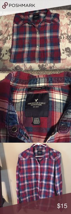 Boyfriend flannel Button up boyfriend flannel. Size large. Worn once. American Eagle Outfitters Tops