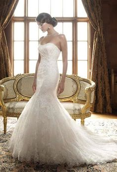 Mermaid~Wedding Dress.  Because of its body-hugging cut, the mermaid is best worn by brides who are confident and comfortable in their skin. It is flattering on slender, short and tall figures, however, girls who love their curves can rock this dress as well.