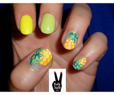 Pineapple #nailart yellow green fruit nails accent nail cute manicure