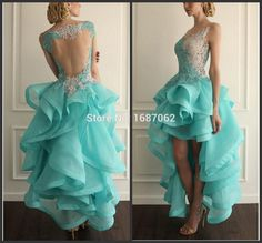 Find More Prom Dresses Information about Vintage Ruffles High Low Prom Dresses Organza Light Blue Formal Gowns Party Dresses Lace Bridal Gown Graduation Dresses vestidos,High Quality dress to wear to a wedding as a guest,China dresses dubai Suppliers, Cheap gown dress from bluesky gown on Aliexpress.com