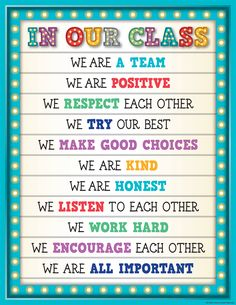 Send a great message to the students in your class.  Marquee In Our Class Chart.  We are a team. We are positive. We respect each other. We try our best. We make good choices. We are kind. We are honest. We listen to each other. We work hard. We encourage each other.  We are all important.