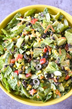 This Southwestern chopped salad is full of flavorful vegetables and plant-based proteins and topped with a creamy, vegan avocado cilantro dressing. Lettuce Salad Recipes, Chopped Salad Recipes, Green Salad Recipes, Salad Recipes For Dinner, Easy Salad Recipes, Salad Dressing Recipes, Avocado Recipes, Cilantro Salad Dressings, Avocado Cilantro Dressing