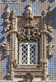 Manueline-style window from the Palacio da Pena in Sintra, Portugal