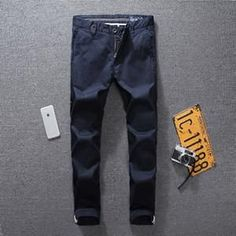 Jeans Men Casual Pants DE Brand Clothing Mid Stripe Slim Fit Fashion Men`s Jeans Uomo S368B