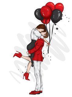 Love Cartoon Couple, Cartoon Girl Images, Cute Couple Art, Girl Cartoon, Cartoon Art, Love Couple Images, Romantic Cartoon Images, Ballons Saint Valentin, Couple Sketch