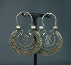 Antique Ethnic Guatemalan Silver Crescent Moon Hoop Tradtional Wedding Earrings